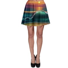 Art Sunset Beach Sea Waves Skater Skirt