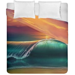 Art Sunset Beach Sea Waves Duvet Cover Double Side (california King Size)