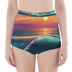 Art Sunset Beach Sea Waves High-Waisted Bikini Bottoms