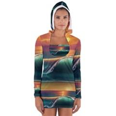 Art Sunset Beach Sea Waves Women s Long Sleeve Hooded T-shirt