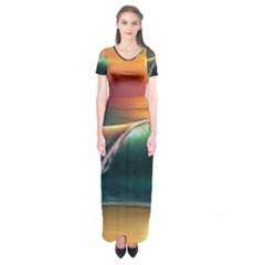 Art Sunset Beach Sea Waves Short Sleeve Maxi Dress