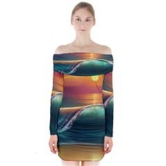 Art Sunset Beach Sea Waves Long Sleeve Off Shoulder Dress