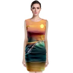Art Sunset Beach Sea Waves Sleeveless Velvet Midi Dress