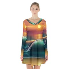 Art Sunset Beach Sea Waves Long Sleeve Velvet V Neck Dress