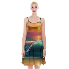 Art Sunset Beach Sea Waves Spaghetti Strap Velvet Dress