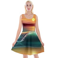 Art Sunset Beach Sea Waves Reversible Velvet Sleeveless Dress