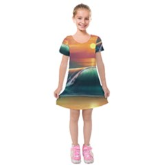 Art Sunset Beach Sea Waves Kids  Short Sleeve Velvet Dress