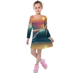 Art Sunset Beach Sea Waves Kids  Long Sleeve Velvet Dress