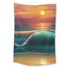 Art Sunset Beach Sea Waves Large Tapestry