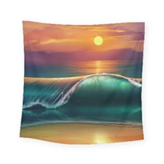 Art Sunset Beach Sea Waves Square Tapestry (Small)