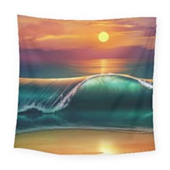 Art Sunset Beach Sea Waves Square Tapestry (large)