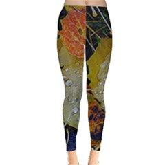 Autumn Rain Yellow Leaves Leggings
