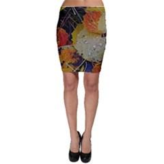 Autumn Rain Yellow Leaves Bodycon Skirt