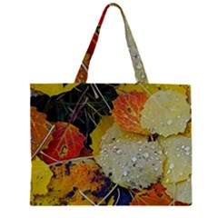 Autumn Rain Yellow Leaves Large Tote Bag