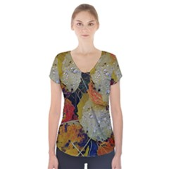 Autumn Rain Yellow Leaves Short Sleeve Front Detail Top
