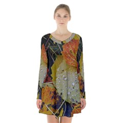 Autumn Rain Yellow Leaves Long Sleeve Velvet V Neck Dress