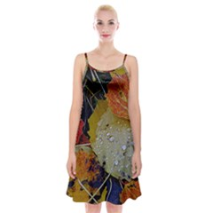 Autumn Rain Yellow Leaves Spaghetti Strap Velvet Dress