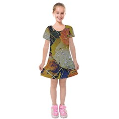 Autumn Rain Yellow Leaves Kids  Short Sleeve Velvet Dress