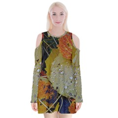 Autumn Rain Yellow Leaves Velvet Long Sleeve Shoulder Cutout Dress