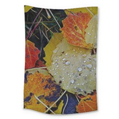 Autumn Rain Yellow Leaves Large Tapestry