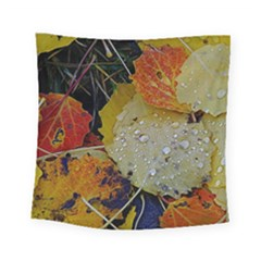 Autumn Rain Yellow Leaves Square Tapestry (Small)