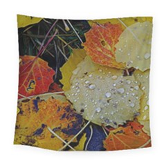 Autumn Rain Yellow Leaves Square Tapestry (Large)