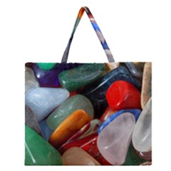 Beautiful Stones In Different Colors Colorful Zipper Large Tote Bag