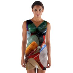 Beautiful Stones In Different Colors Colorful Wrap Front Bodycon Dress