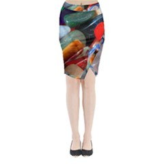 Beautiful Stones In Different Colors Colorful Midi Wrap Pencil Skirt