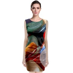 Beautiful Stones In Different Colors Colorful Sleeveless Velvet Midi Dress