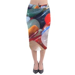 Beautiful Stones In Different Colors Colorful Velvet Midi Pencil Skirt