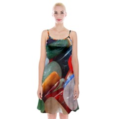Beautiful Stones In Different Colors Colorful Spaghetti Strap Velvet Dress