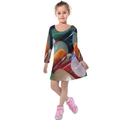 Beautiful Stones In Different Colors Colorful Kids  Long Sleeve Velvet Dress