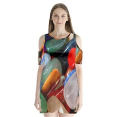 Beautiful Stones In Different Colors Colorful Shoulder Cutout Velvet  One Piece