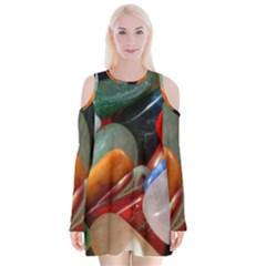 Beautiful Stones In Different Colors Colorful Velvet Long Sleeve Shoulder Cutout Dress