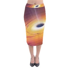 Black Hole Velvet Midi Pencil Skirt