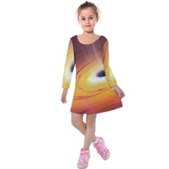 Black Hole Kids  Long Sleeve Velvet Dress