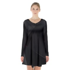 Black Light Dark Figures Long Sleeve Velvet V Neck Dress
