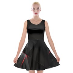 Black Light Dark Figures Velvet Skater Dress
