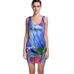 Blue Flowers With Thorns Sleeveless Bodycon Dress