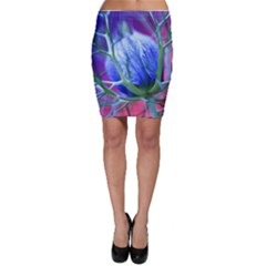 Blue Flowers With Thorns Bodycon Skirt