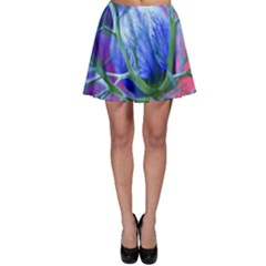 Blue Flowers With Thorns Skater Skirt