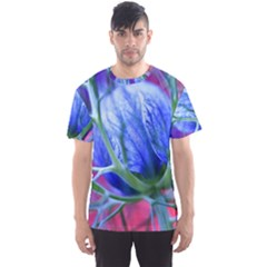 Blue Flowers With Thorns Men s Sport Mesh Tee