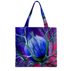 Blue Flowers With Thorns Zipper Grocery Tote Bag