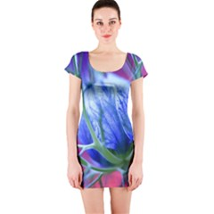 Blue Flowers With Thorns Short Sleeve Bodycon Dress