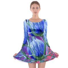 Blue Flowers With Thorns Long Sleeve Skater Dress
