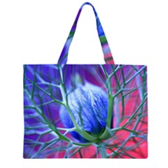 Blue Flowers With Thorns Large Tote Bag