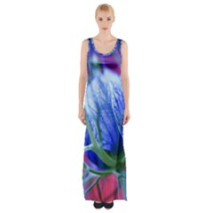 Blue Flowers With Thorns Maxi Thigh Split Dress