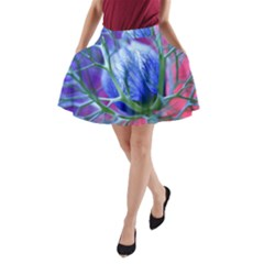 Blue Flowers With Thorns A-Line Pocket Skirt
