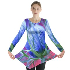 Blue Flowers With Thorns Long Sleeve Tunic